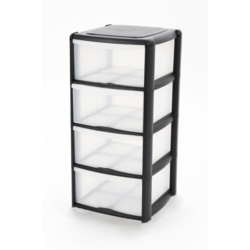 Tontarelli 4 Drawer Tower Black
