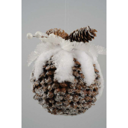 Kaemingk Pinecone Ball with Snow with Hanger