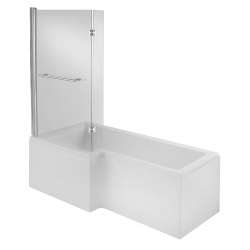 L Shape 1675mm Shower Bath + Screen + Panel Left Hand