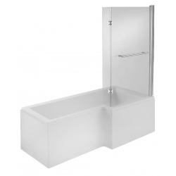 L Shape 1675mm Shower Bath + Screen + Panel Right Hand
