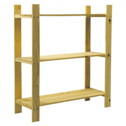 Natural Wood 3 Shelf Slatted Storage Unit