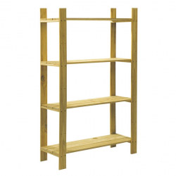 Natural Wood 4 Shelf Slatted Storage Unit