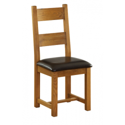 Besp-Oak Dining Chair With Leather Seat