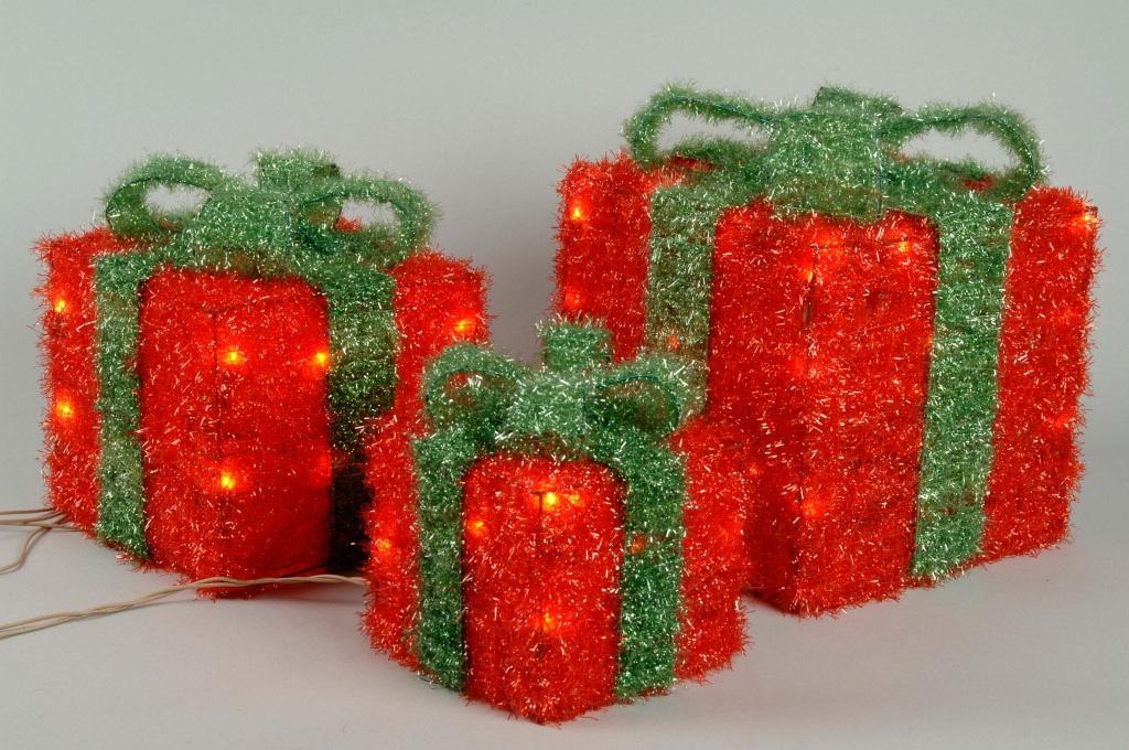 Led set di 3 scatole regalo scatola regalo di natale for Regalo di natale originale