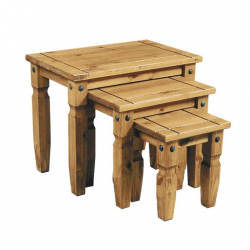 Aztec Mexican Pine Nest Of 3 Tables