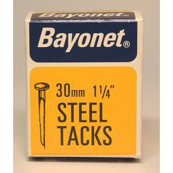 Bayonet Tacks (Fine Cut Steel) - Blue (Box Pack) - 30mm
