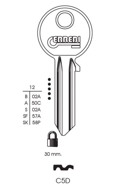 Cisa 5 Pin Cylinder Key Blank - Pack 10