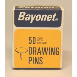 Bayonet Drawing Pins (Solid Head) - Brassed (Box Pack)