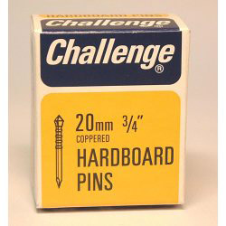 Challenge Hardboard Pins (Deep Drive) - Copper Plated (Box Pack) - 20mm