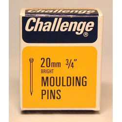 Challenge Moulding Pins (Veneer Pins) - Bright Steel (Box Pack) - 20mm