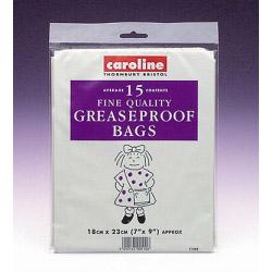 "Caroline Greaseproof Bags (15) - 7"" x 9"" (18cm x 23cm)"