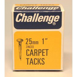 Challenge Carpet Tacks - Zinc Plated (Box Pack) - 25mm