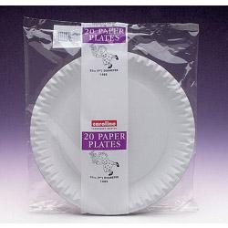 "Caroline White Paper Plates (20) - 9"" 23cm"