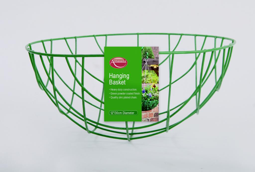"""Ambassador Hanging Basket - 30cm/12"""" Green"""