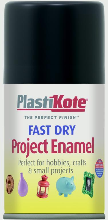 PlastiKote Fast Dry Enamel Aerosol Paint - Matt Black - 100ml