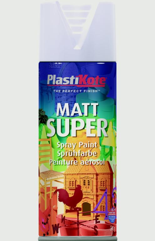 PlastiKote Matt Super Gloss - 400ml Aerosol White