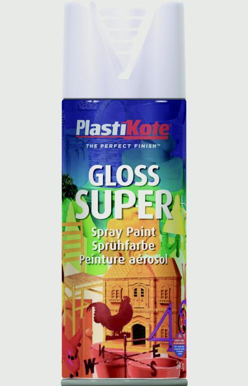 PlastiKote Gloss Super Aerosol - White - 400ml