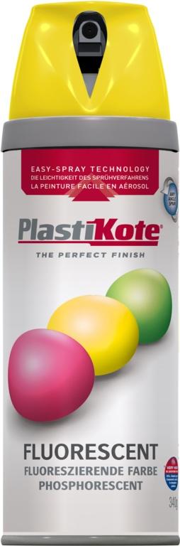 PlastiKote Fluorescent Spray Paint - Yellow - 400ml
