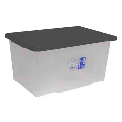 TML 50L Clear Storage Box & Black Lid