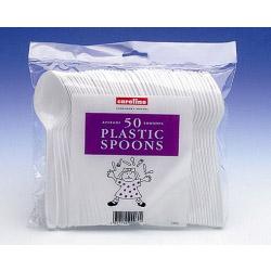 Caroline White Plastic Spoons (50)