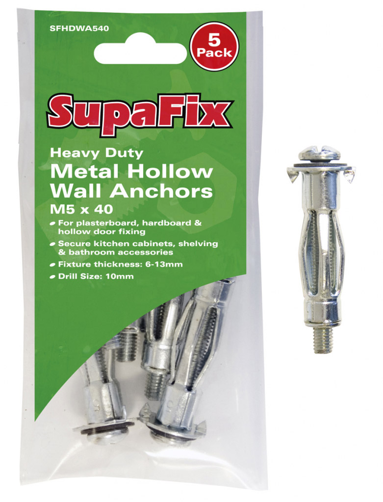 SupaFix Heavy Duty Metal Hollow Wall Anchors - M5 x 40