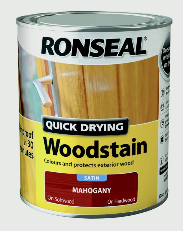Ronseal Quick Drying Woodstain Satin 750ml - Mahogany