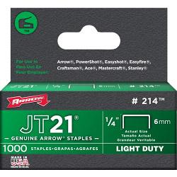 Arrow JT21/T27 Staples - 6mm 1/4in (1000)