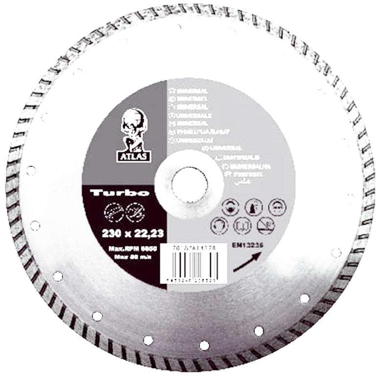 Atlas Diamond Blade - Universal Turbo - 115 x 7 x 2.2 x 22.23mm