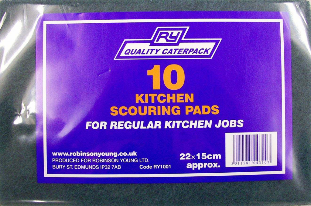 Caterpack 10 Green Kitchen Scouring Pads 23x15 - Green