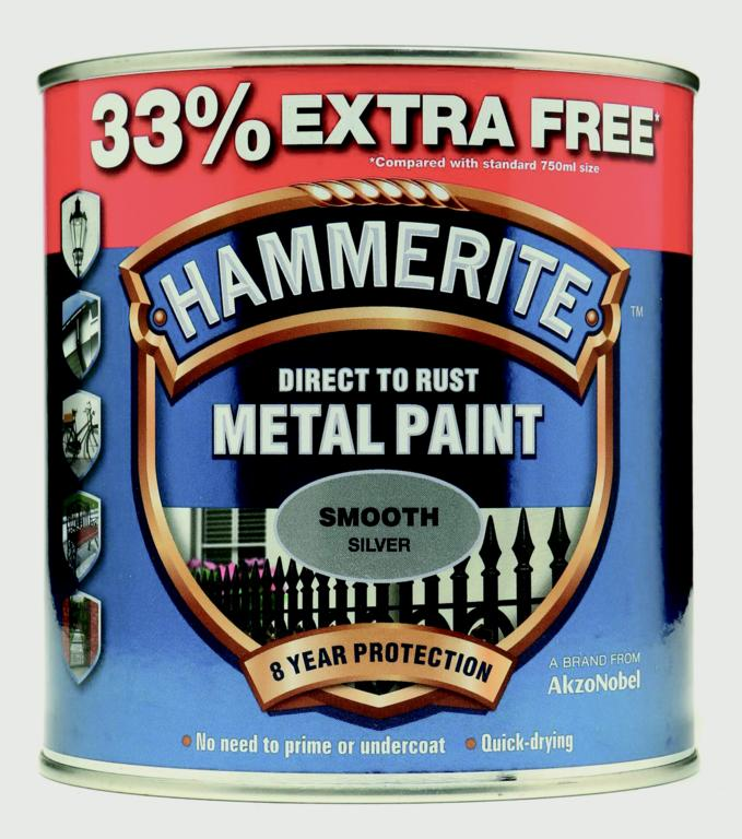 Hammerite Metal Paint Smooth 750ml + 33% Free - Silver