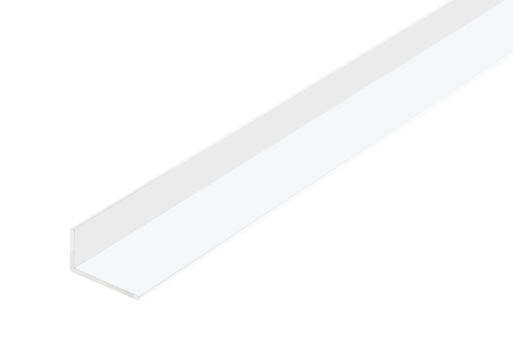 Rothley Angle Unequal Sided - White Plastic - 20mm x 10mm x 1.5mm x 2m
