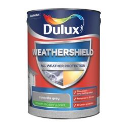 Dulux Weathershield Smooth Masonry Paint 5L Concrete Grey