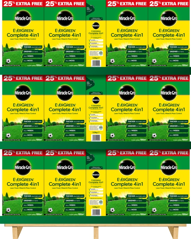 Miracle-Gro Evergreen Complete 4 in 1 - 78 x 80m2 + 25% extra free carton