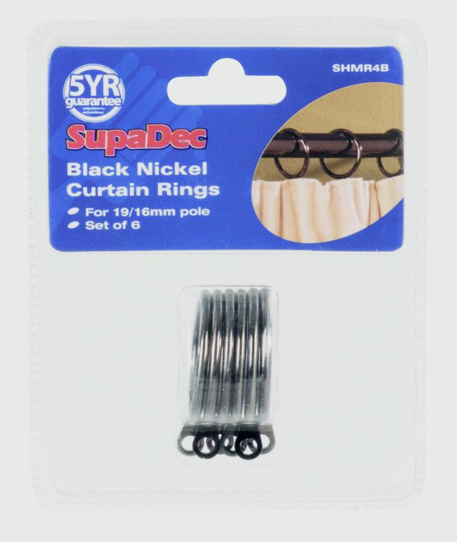 SupaDec Curtain Rings Pack 6 - Black Nickel