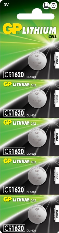 GP Lithium Coin Cell C1 - CR1620 Pack 5