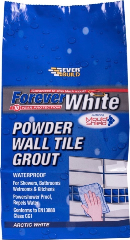 Everbuild Forever White Powder Wall Tile Grout 1.2kg - Artic White
