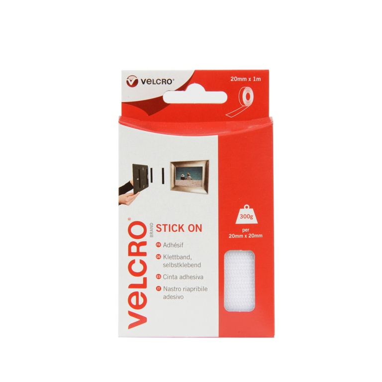 VELCRO® Brand Stick On Tape - 20mm x 1m White