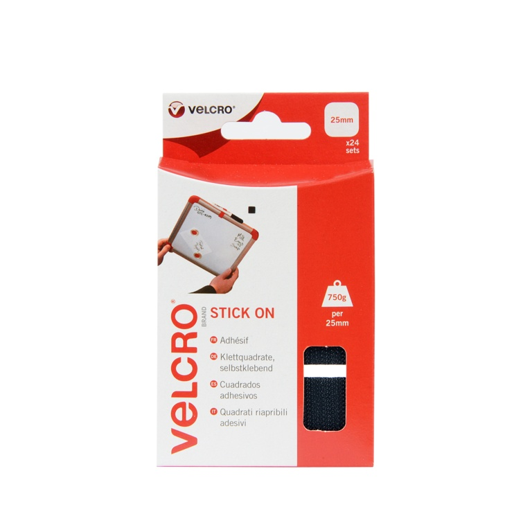 VELCRO® Brand Stick On Squares - 25mm Black 24 Sets