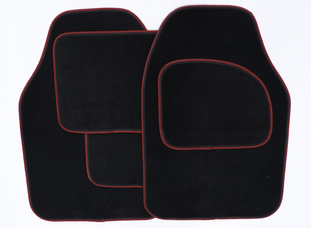 Streetwize Velour Carpet Mat Set with Coloured Binding - 4 Piece - Black/Red