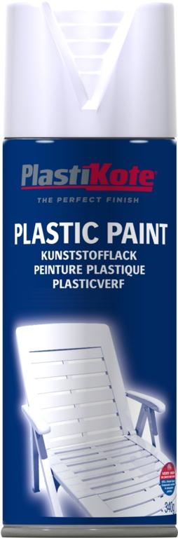 PlastiKote Plastic Spray Paint - 400ml White Gloss