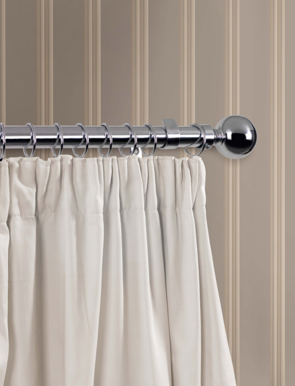 SupaDec Chrome Finish Curtain Pole - 180cm, 28mm diameter