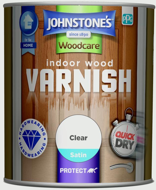 Johnstone's Indoor Wood Varnish Satin 750ml - Clear