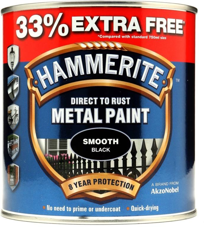 Hammerite Metal Paint Smooth 750ml + 33% Free - Black
