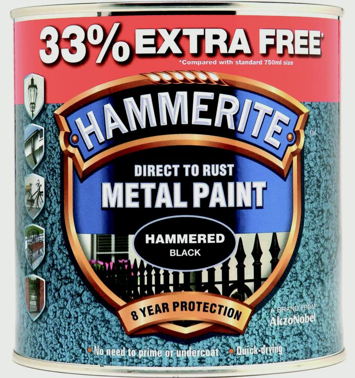 Hammerite Metal Paint Hammered 750ml + 33% Free - Black