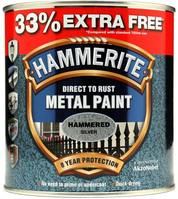 Hammerite Metal Paint Hammered 750ml + 33% Free - Silver