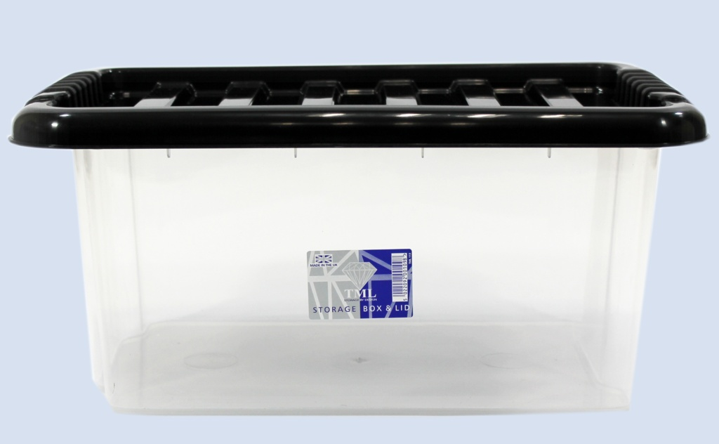 TML Storage Box & Black Lid - 14L Clear