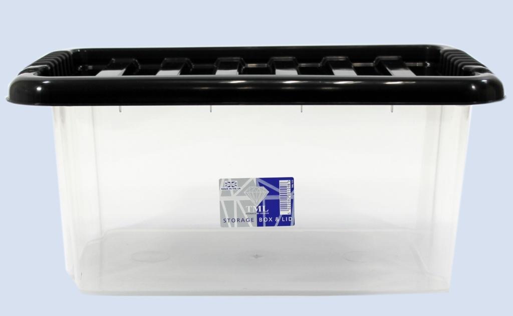 TML Storage Box & Black Lid - 14L Clear