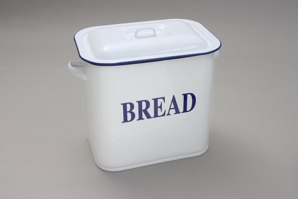 Falcon Oblong Bread Bin - White 34cm