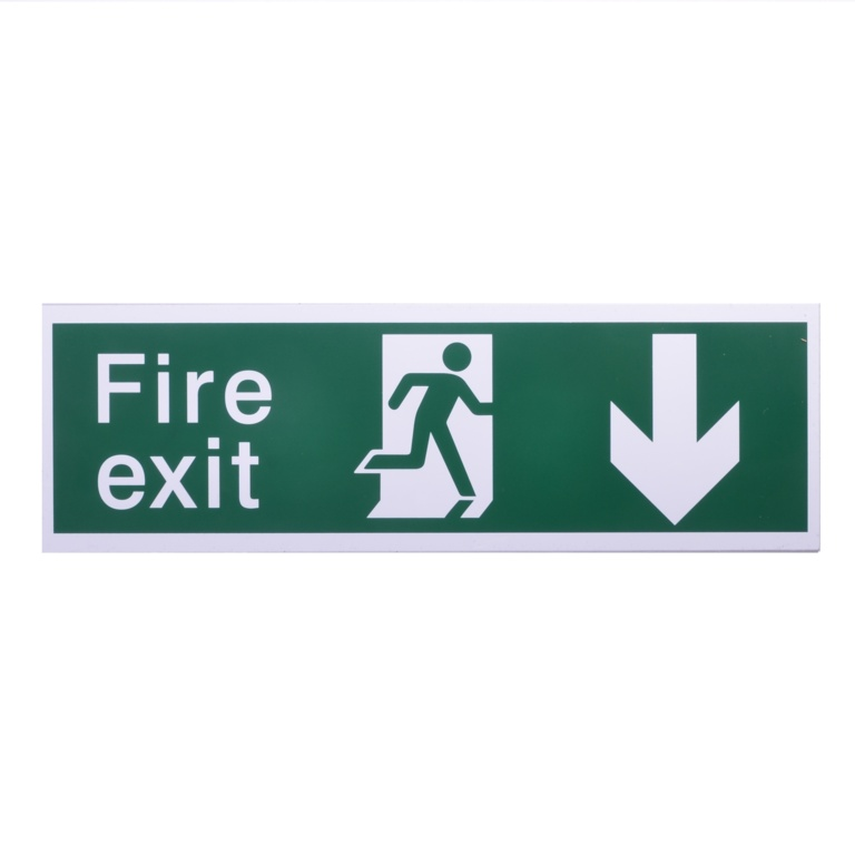 House Nameplate Co Fire Exit With Arrow Back - Back Arrow