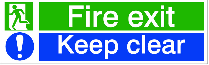 House Nameplate Co Fire Exit Keep Clear - 8x12.5cm